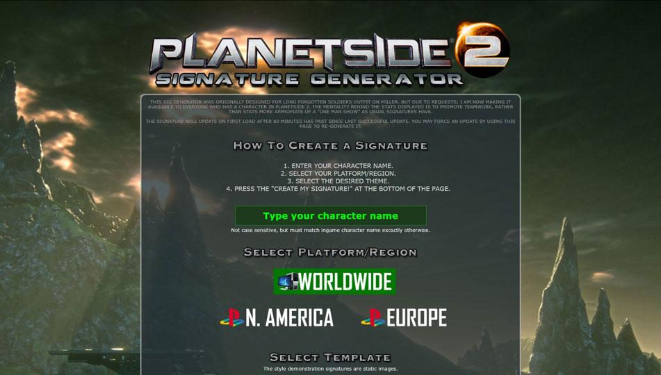 Planetside 2 Dynamic Signatur Banner